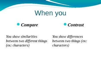 Compare and Contrast Essay Examples